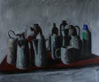 Red table many pots 200x166