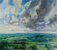 Oil painting towards South Downs 200x176