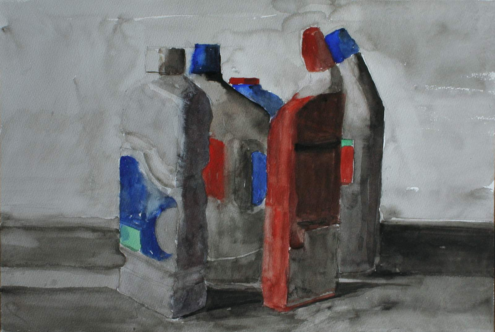 Watercolour five plastic bottles